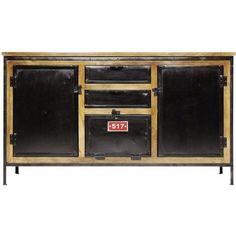 Buffet industriel bois et métal effet vintage - Noir