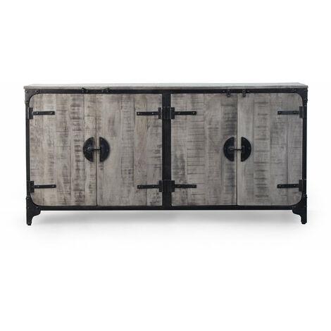Buffet industriel gris 4 portes finitions vintages loquet - Gris foncé