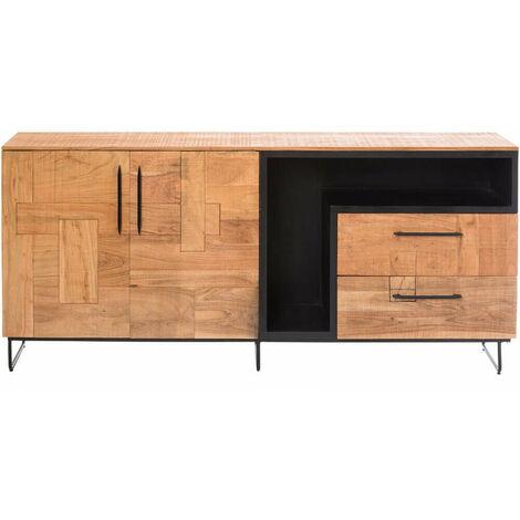 Buffet industriel niche décorative bois et métal 200cm - Manguier