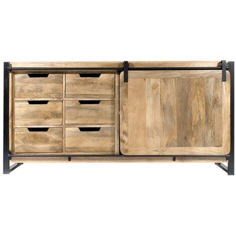 Buffet industriel porte coulissante manguier, 6 tiroirs bois - Bois