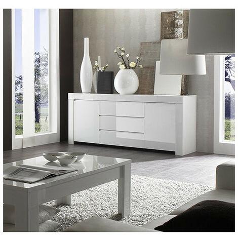 Buffet LAZARRO 2 portes 3 tiroirs 190x82 cm - Blanc