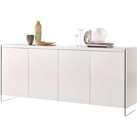 "Buffet LED ""Fiona"" - 201 x 40 x 86 cm - Blanc laqué"