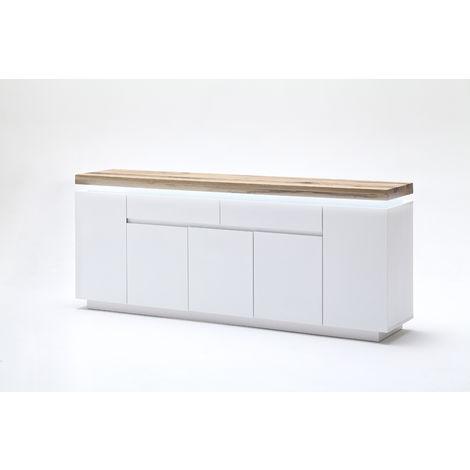 buffet led laqu blanc mat avec plateau en ch ne noueux. Black Bedroom Furniture Sets. Home Design Ideas