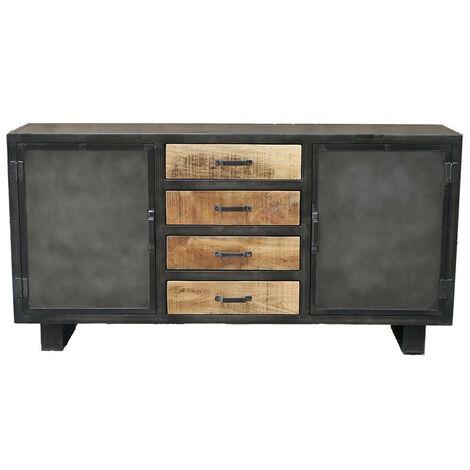 Buffet métal et bois Jodhpur 2 portes 4 tiroirs - Gris
