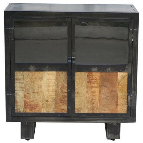 Buffet métal et bois Jodhpur 2 portes - Gris