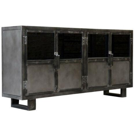 Buffet métal noir Jodhpur 4 portes - Noir