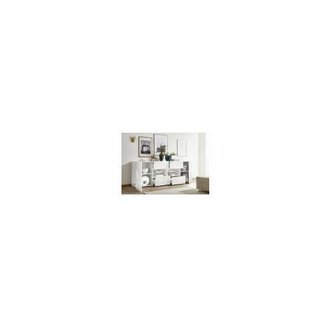 Buffet MIREL Blanc 2 portes 4 tiroirs 241 cm - Blanc