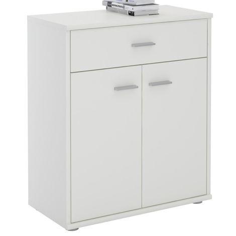 Buffet MONACO, commode meuble de rangement avec 1 tiroir et 2 portes, en mélaminé blanc mat