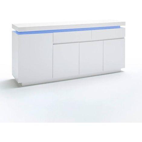 Buffet OCEAN laqué blanc brillant 4 portes 2 tiroirs LED inclus - blanc