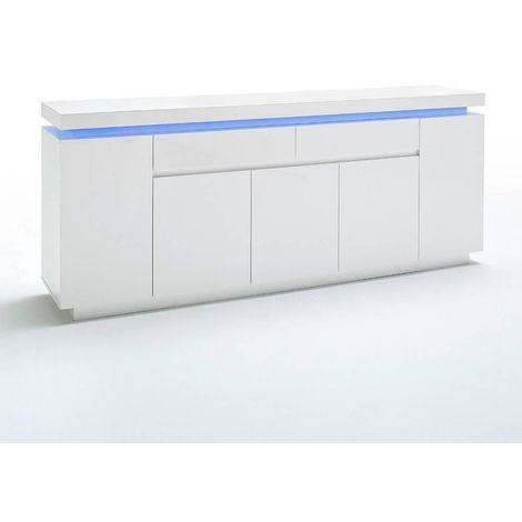 Buffet OCEAN laqué blanc brillant 5 portes 2 tiroirs LED inclus - blanc