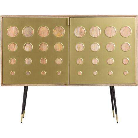 Buffet rétro métal doré 2 portes - Bois