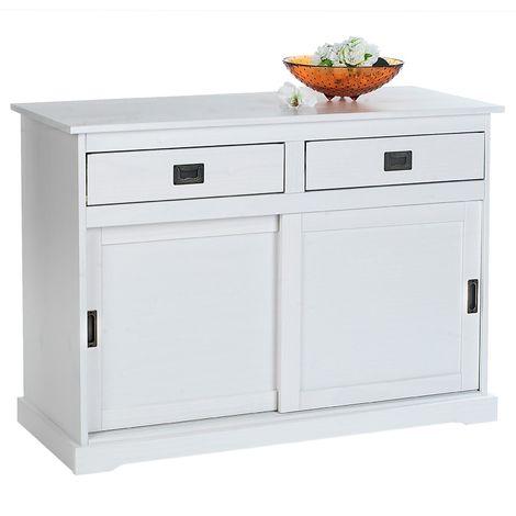 Buffet SAVONA bahut vaisselier commode avec 2 tiroirs et 2 portes coulissantes, en pin massif lasuré blanc