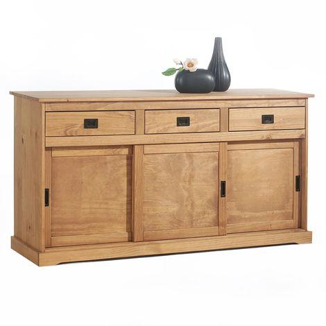 Buffet SAVONA bahut vaisselier commode avec 3 tiroirs et 3 portes coulissantes, en pin massif lasuré brun