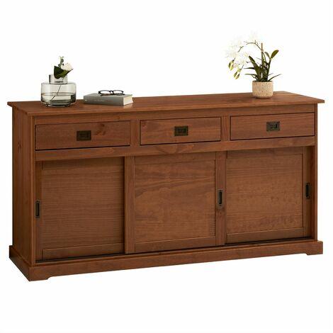Buffet SAVONA bahut vaisselier commode avec 3 tiroirs et 3 portes coulissantes, en pin massif lasuré brun foncé