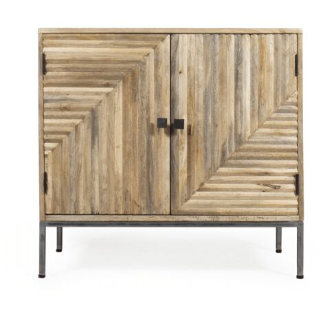 Buffet scandinave design relief 2 portes - Bois clair