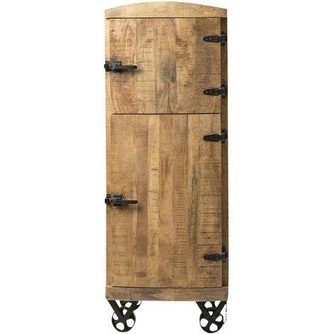 Buffet style frigo bois métal 2 portes, 3 étagères - Bois