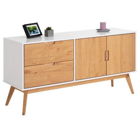 Buffet TIVOLI design vintage scandinave nordique commode bahut vaisselier 2 tiroirs 2 portes, pin massif finition blanc/bois teinté
