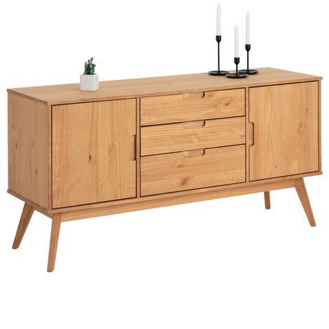 Buffet TIVOLI design vintage scandinave nordique commode bahut vaisselier 3 tiroirs 2 portes, pin massif finition bois teinté