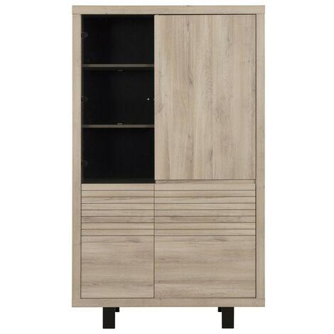 Buffet vaisselier haut 4 portes chêne - fabrication française - CaliCosy