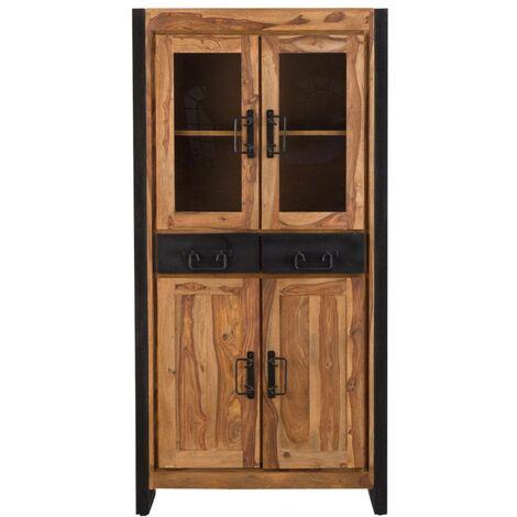 Buffet vaisselier industriel vitré en acacia 2 tiroirs, 4 portes - Bois