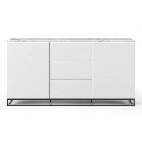 Buffet WHITY 2 blanc mat 180cm 2 portes/3 tiroirs Plateau en Marbre blanc avec piètement noir - blanc