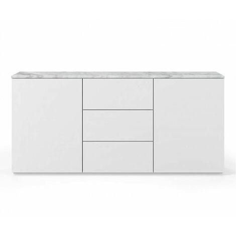 Buffet WHITY 2 blanc mat 180cm 2 portes/3 tiroirs Plateau en Marbre blanc - blanc