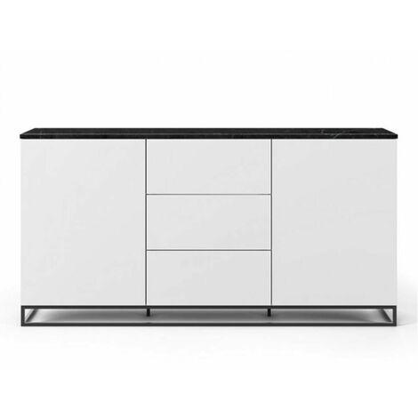 Buffet WHITY 2 blanc mat 180cm 2 portes/3 tiroirs Plateau en Marbre noir avec piètement noir - noir