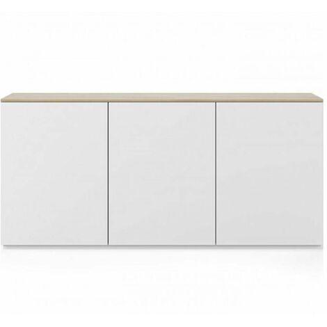 Buffet WHITY blanc mat 180cm 3 portes Plateau en bois de chêne clair - natural