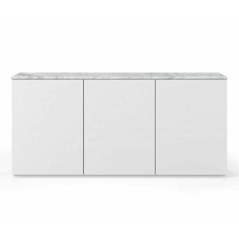 Buffet WHITY blanc mat 180cm 3 portes Plateau en Marbre blanc - blanc