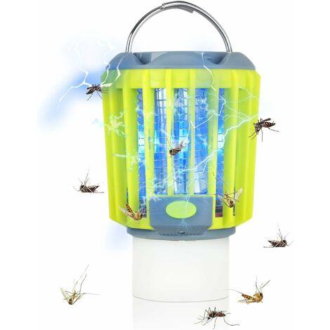 Bug Zapper & LED Lanterne de Camping & Lampe de Poche 3-en-1, Moustique Zapper Rechargeable Imperméable, Équipement de Camping Compact Portable pour l'Extérieur