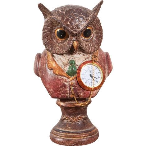 Búho con reloj de resina pintada L10xPR10xH18 cm