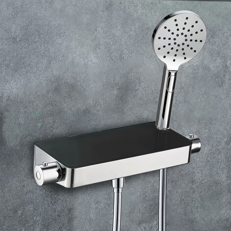 Bulby Thermostatic Black Glass Top Shower Mixer