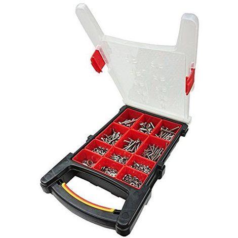 Bulk Hardware Bh06616Assortiment d\'acier inoxydable machine Vis, écrous hexagonaux et rondelles plate dans un compartiment 12Housse de transport.