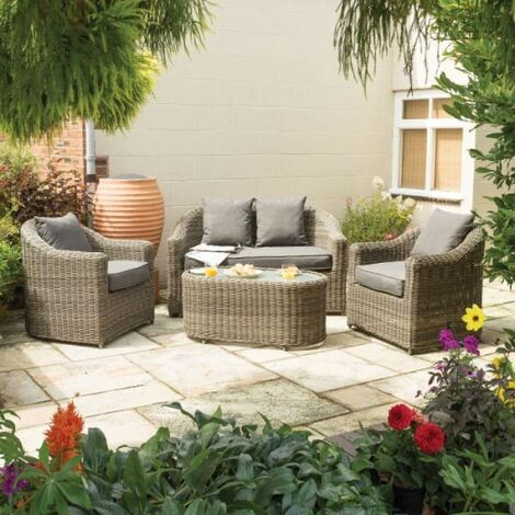 Bunbury Rattan Four Piece Sofa Set Natural