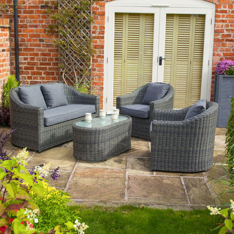 Bunbury Sofa Set Grey Weave
