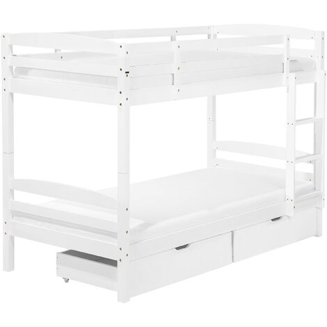 Bunk Bed 3' EU Single 2 Person Kids Bedroom with Drawers White Pine Wood Regat