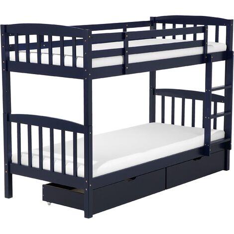Bunk Bed 3' EU Single Children Kids Bedroom with Drawers Pine Wood Blue Revin
