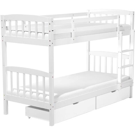 Bunk Bed 3' EU Single Children Kids Bedroom with Drawers White Pine Wood Revin
