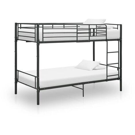 Bunk Bed Black Metal 90x200 cm