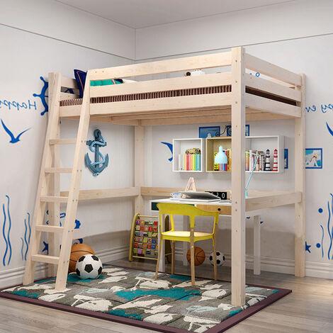 Bunk Bed High Sleeper Solid Pine Wood Frame Slats Childrens Kids Single
