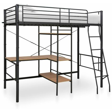 Bunk Bed with Table Frame Black Metal 90x190 cm