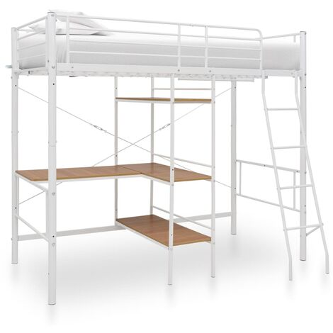 Bunk Bed with Table Frame White Metal 90x200 cm