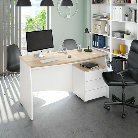 Bureau 136x67 cm Blanc mat et chêne canadien avec trois tiroirs | Chêne clair/blanc