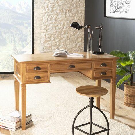 Bureau 5 tiroirs bois Teck - Miel