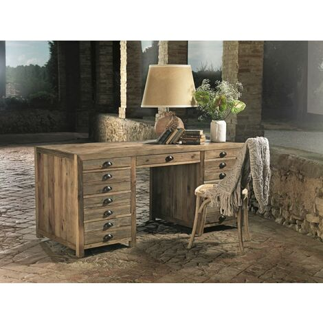 Bureau à absinthe en pin en vieux bois cm 175x75x78 Guarnieri Assenzio