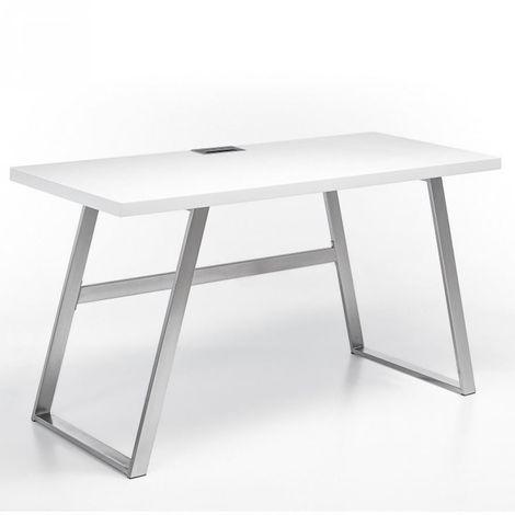 Bureau ALINA laqué blanc mat piétement métal brossé - blanc