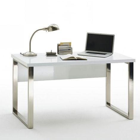 Bureau ALTONA laqué blanc brillant piétement métal chromé - blanc