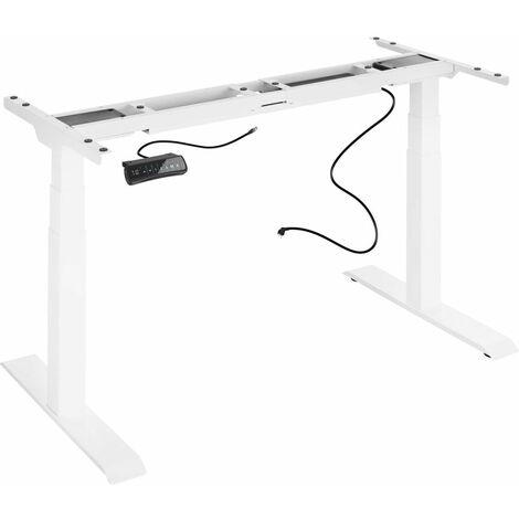 Bureau assis debout meuble (piètement) 3 fonctions 2 moteurs blanc - Blanc