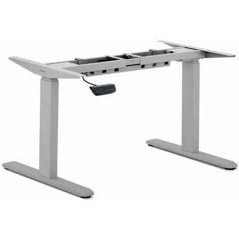Bureau assis debout (piètement) - 200 W - 100 kg gris - Gris