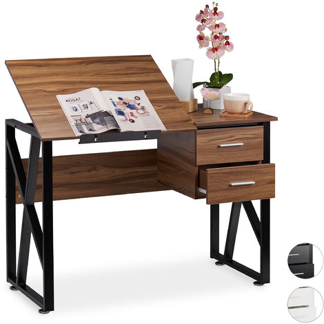 Bureau Avec Pupitre Inclinable Reglable Table De Laptop Ou De Dessin 75 X 110 X 55 Cm Bois Noir 8100260409411955